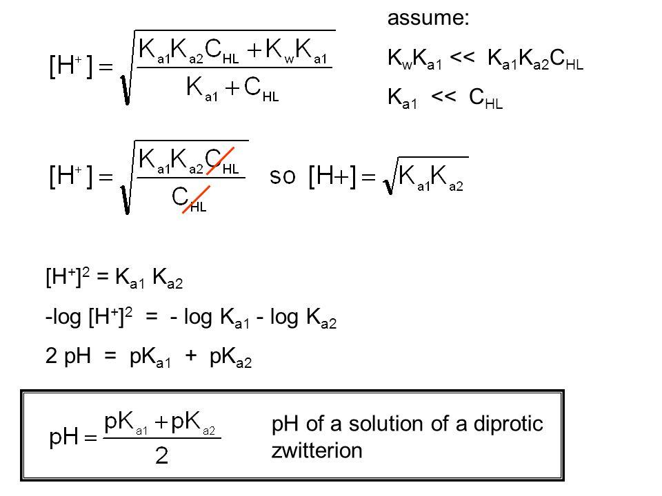 assume: KwKa1 << Ka1Ka2CHL. Ka1 << CHL. [H+]2 = Ka1 Ka2. -log [H+]2 = - log Ka1 - log Ka2. 2 pH = pKa1 + pKa2.